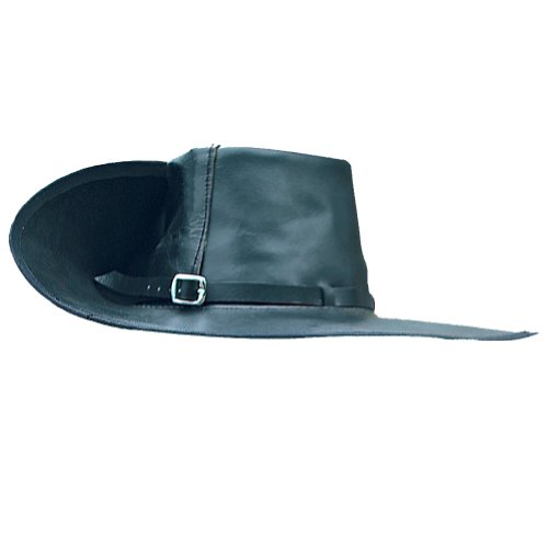 Period Clothing - Leather Cavalier Hat - Large (Right Brim Up) - Black -