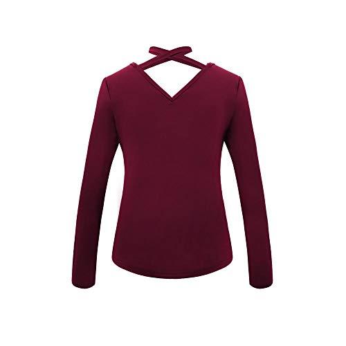 Cuore Maniche Casual Vino Con Cime shirt Firally Da Scollo Lunghe A Popolare T top Minimalista Donna V camicetta vUEgqF