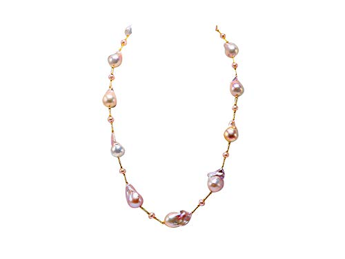 - JYX Pearl Sterling Silver Tin Cup Station Necklace AAA Quality Multicolor Baroque Freshwater Cultured Pearl Necklace 25