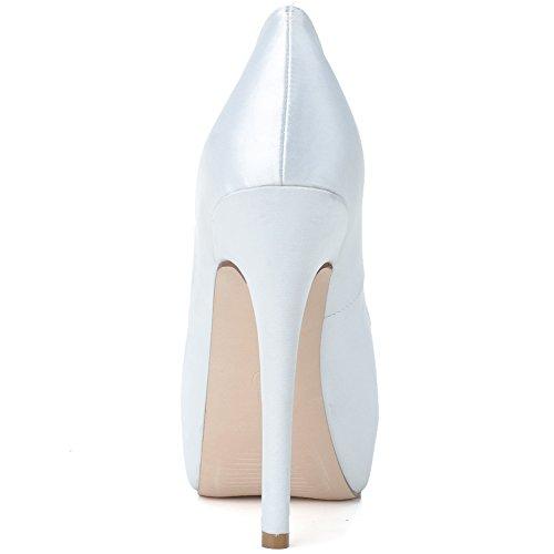 Loslandifen Damessandijn Bruiloft Pumps Strass Peep Toe Bruids Hoge Hakken Schoenen Wit