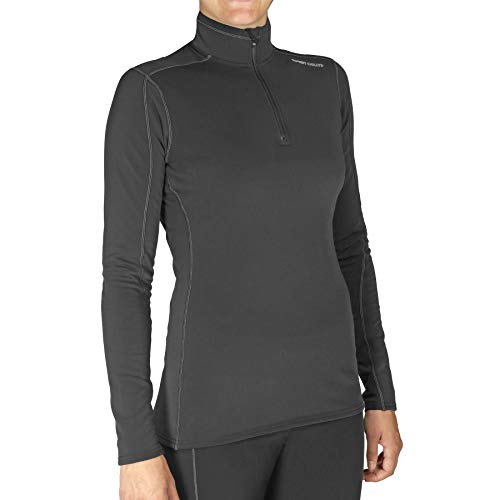 Hot Chillys Women's Micro Elite Chamois XT TS Zip-Tee, Black/Granite, Large
