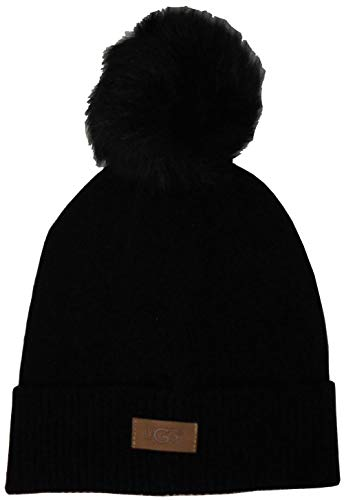 UGG Women's Luxe Knit with Sheepskin Pom Hat Black for sale  Delivered anywhere in USA