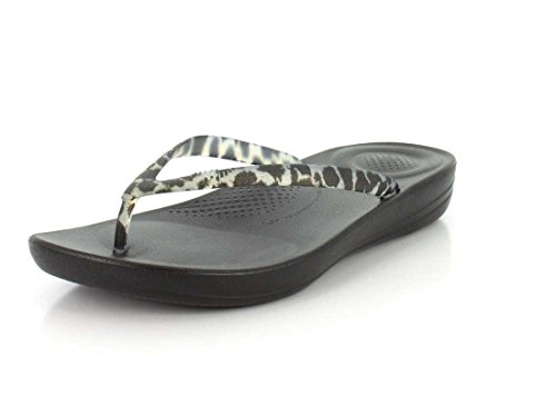 FitFlop IQUSHION ERGONOMIC - Chancla de mujer Blanco y Negro