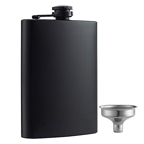 YWQ Hip Flask for Liquor Matte Black 8 Oz Stainless Steel Leakproof with Funnel, Great Gift Idea Flask