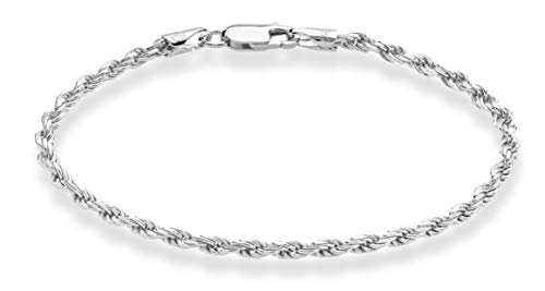 MiaBella Sterling Silver Italian 3mm Solid Diamond-Cut Braided Rope Chain Necklace Bracelet for Men Women 925 Italy 7, 7.5, 8, 8.5, 9,16, 18, 20, 22, 24, 26, 28, 30 Inch (7)