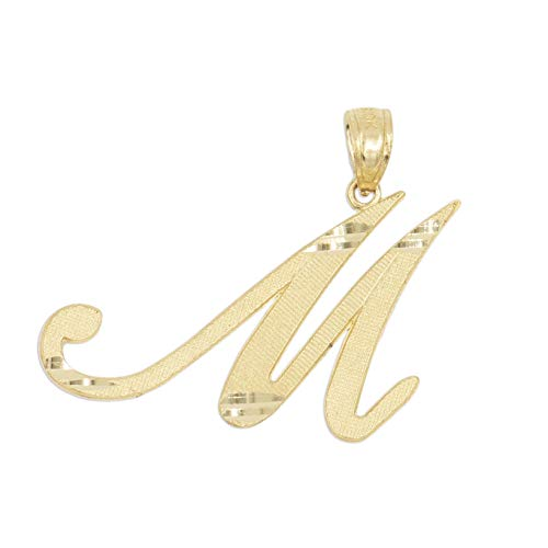 (Ice on Fire Jewelry 10k Solid Real Gold Cursive Initial Pendant, English Alpahbet A-Z Letter Charm with Diamond Cut (M))