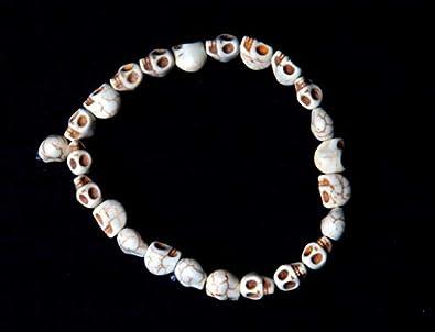 White 12MM 3D Buddha4all Halloween Skull Beads Tibetan Buddhist Prayer Rosary Meditation Mala Necklace Bracelet Skull Beads