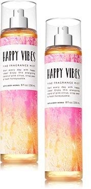 Bath and Body Works Happy Vibes Fine Fragrance Mist 8 Ounce Set of 2