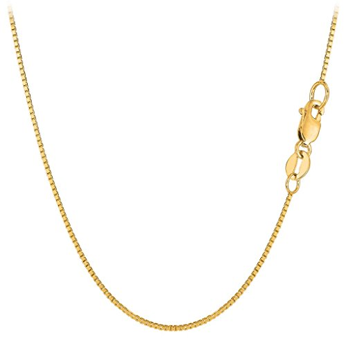 18k Yellow Solid Gold Mirror Box Chain Necklace, 0.8mm, 20