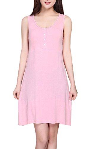 Tayaho MIni Vestido Para Embarazadas Mujer Vestido Con Botones Lactancia Senora Vestidos De Verano Sin Mangas Mujeres Dress Color Solido Vestido Sencillas: ...