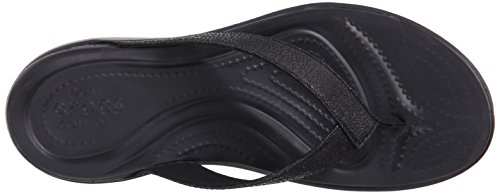 Crocs Womens Capri V Shimmer Croslite Toe Post Flip Flop Black Black