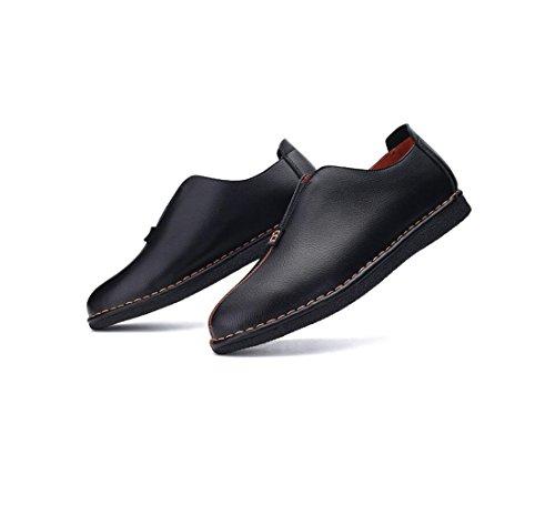 Nastro Tondo Punta Morbido Scarpe Stivali in Sandali Tela Affari Pelle Colore A Stagione Casual Black Sportivi Uomo q4BFff