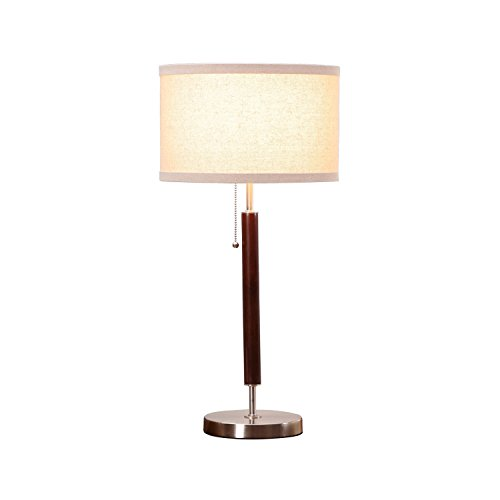 Brightech Carter LED Side Table, Nightstand & Desk Lamp - Classy Vintage with Stainless Steel Base Soft, Ambient Lighting Perfect for Living Room Office Bedside - Energy Efficient - Wood Finish