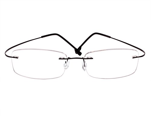 7917cf4bb8f Beison Memory Titanium Stainless Steel Rimless Flexible Reading Glasses