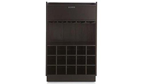 Aprodz Mango Wood Wine Storage Yalgoo Stylish Bar Cabinet for Living Room   Black Finish