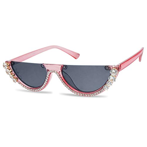 SunglassUP Super Small Half Moon 1990s Cateyes Sunglasses (Acrylic Pink Frame | Black)]()
