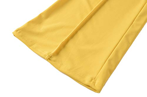 439be51a0482c8 GUOLEZEEV Women Fit and Flare High Waisted Palazzo Pants Solid Long Trousers  Yellow M
