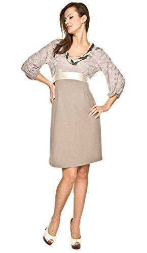 Elegantes und bequemes Umstandskleid, Brautkleid, Hochzeitskleid für Schwangere Modell: Dolce, beige, M