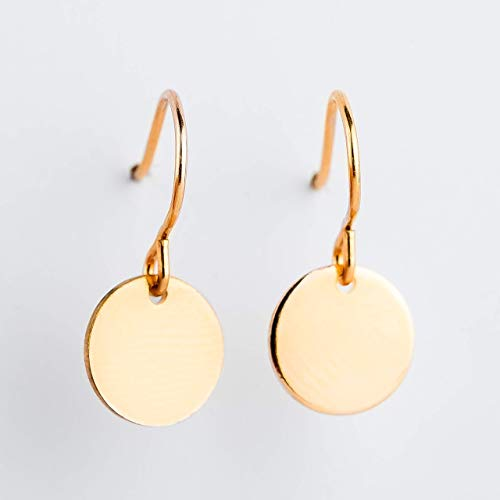 Round Circle Disc dangle drop Earrings in 14K Yellow Gold Fill