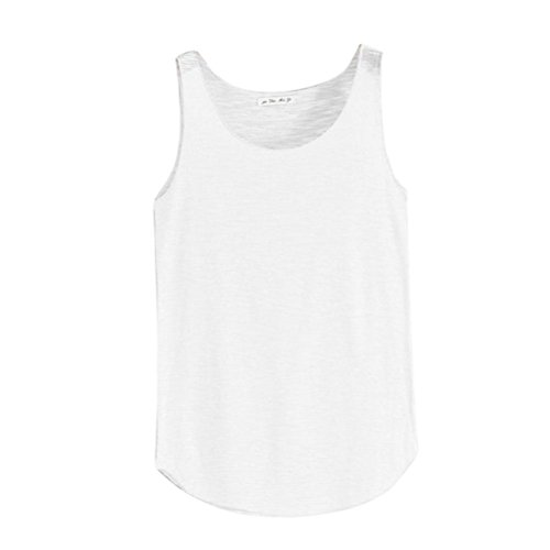 Women Summer Vest Sleeveless Round Neck Tank Loose Singlets by (Bamboo Vintage Blouse)