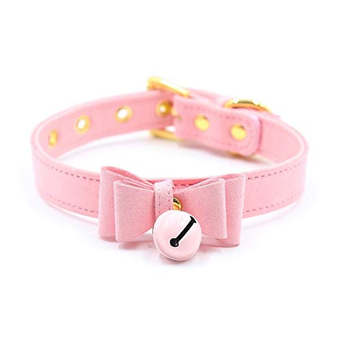 PU Leather Bow Collar Necklace Choker with Pink Bell Cat Cosplay Kitty Necklace with Elegant Box(Pink) -