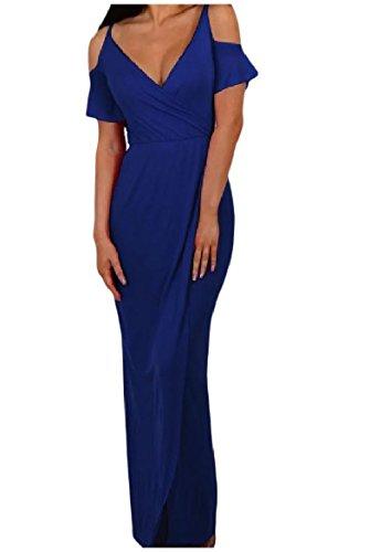 Coolred-femmes Épaule Ajustement Personnalisé Robes Robes Du Soir Fendus Partie Solide Bleu