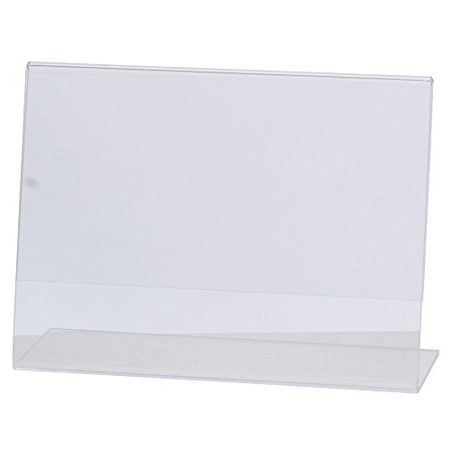 HUBERT Slant Style Sign Holder Clear Acrylic Horizontal - 5 1/2 L x 4 1/2 H by Hubert