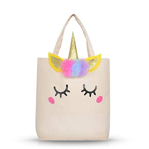 Unicorn -Natural Cotton Canvas Tote Bag with Horn for Groceries, Shopping, School,Unicorn Gift for Girls (Smile 2,have Red dot,1pack) …