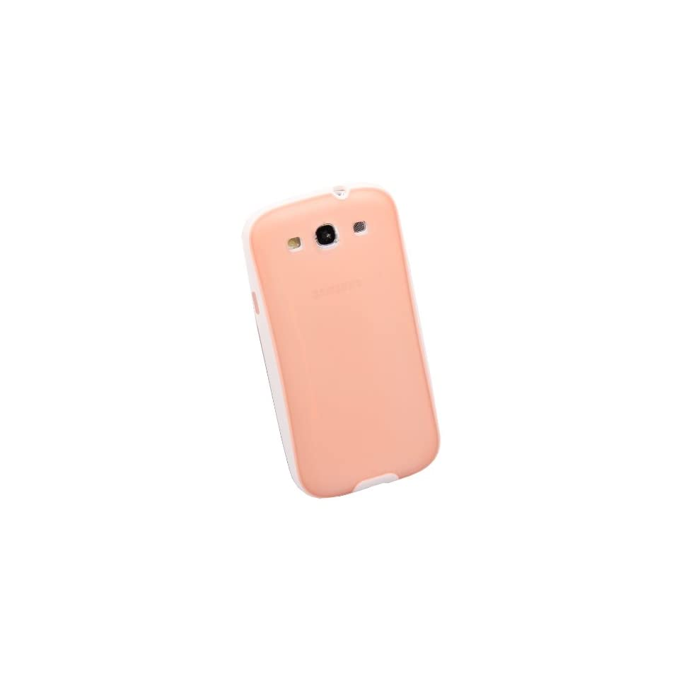 New Slim TPU Rubber Bumper Frame Case / Cover For Samsung Galaxy S3 SIII i9300   Nude & White Cell Phones & Accessories