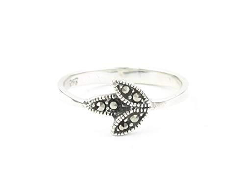 Sterling Silver Marcasite Leaf Ring, Flower Ring, Minimalist, Nature, Boho, Bohemian, Gypsy, Festival ()