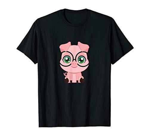 Pig with Glasses cutie Pet Nerd Nerdy Shirt Man Woman Kids ()
