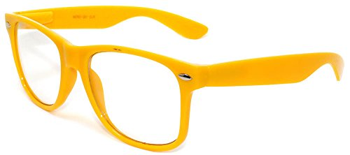 Classic Vintage Sunglasses 80's Style with Clear Lens Yellow Frame - Vintage Yellow Sunglasses
