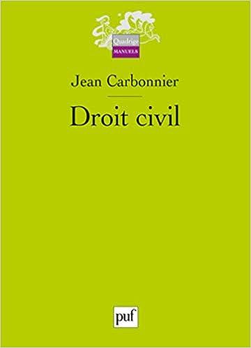 Droit civil (Français) Broché – 4 janvier 2017 de Jean Carbonnier