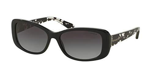 Coach Women's HC8168 Sunglasses Black/Black Crystal Mosaic/Light Grey Gradient 56mm ()