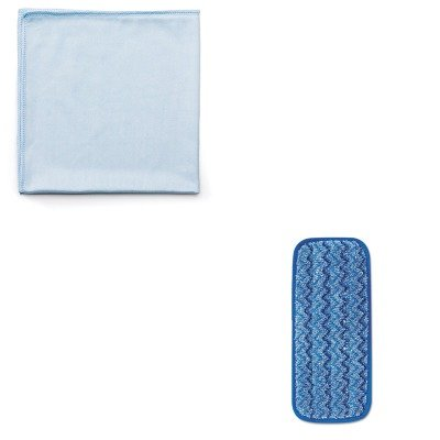 kitrcpq630rcpq820blu – Valueキット – 11quot ;マイクロファイバー壁/階段濡れパッド(rcpq820blu) とRubbermaid再利用可能なCleaning Cloths (rcpq630 ) B00MOLBH82