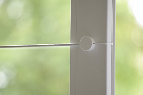Gardinendraht Befestigung SET 4Gardinebasic für 2 Scheibengardinen Küchengardinen, Weiß /eine GUTE Alternative für alle Klemmstange - Gardinenstange - Spannfix