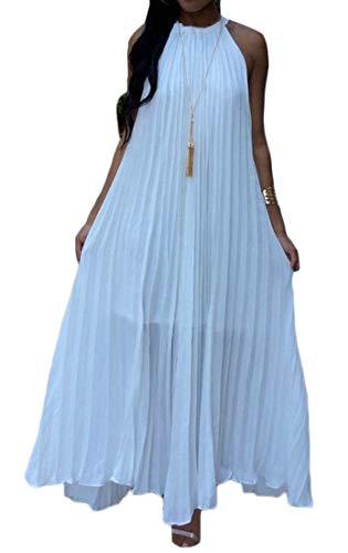 (Pandapang Women's Casual Sleeveless Pleated Chiffon Big Hem Halter Beach Maxi Dress White X-Large)