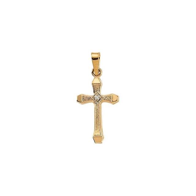 Childrens 14k Yellow Gold Diamond Cross Pendant (.01 Ct, G Color, SI2 Clarity)