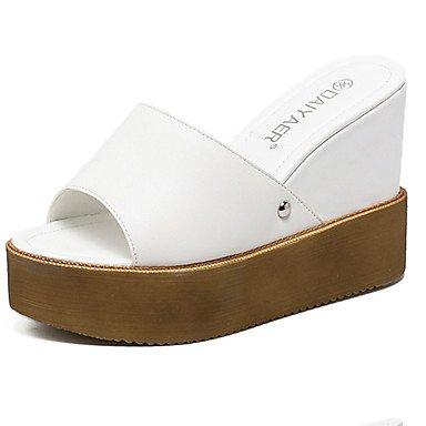 LvYuan sandalias de los zapatos del club del verano del vestido de la PU del talón de cuña tachonado Black