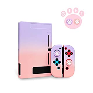 Niclogi Dockable Case for Nintendo Switch, Protective Cover Case Compatible with Nintendo Switch Console and Joy-Con Controller, Separable Hard Cover Case with 2 Thumb Grip Caps(Purple and Pink)