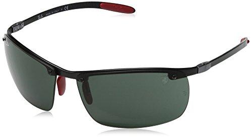 (Ray-Ban Men's RB8305M Scuderia Ferrari Collection Rectangular Sunglasses, Dark Carbon/Green, 64 mm)