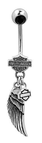 Harley-Davidson Women's Belly Jewel, Black Onyx Wing Bar & Shield Logo HDZ0058