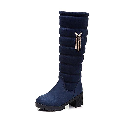 AllhqFashion Womens Xi Shi Velvet Frosted Closed-toe High-Top Kitten-heels Boots Blue Rk73nJcB