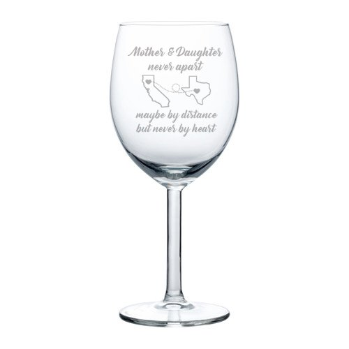 10 Mothers Day Wine - Engraved Mother Wine Glass Mother Daughter White Red Wine Custom Personalized Long Distance Mom Gift (Standard 10 oz)