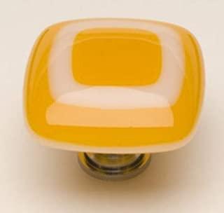 product image for Luster Square Knob Base Finish: Polished Chrome, Color: Marigold