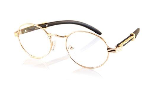 FBL Vintage Oval Clear Lens Metal & Wood Feel Eyeglasses A103 (Rose Gold/ Black) ()