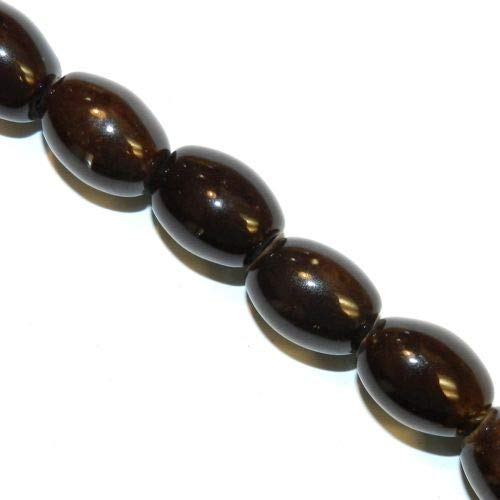 (CPC346 Dark Honey Brown 20mm Tapered Oval Glazed Porcelain Beads 8'' Crafting Key Chain Bracelet Necklace Jewelry Accessories Pendants)