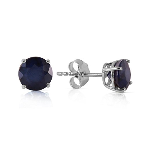 14K White Gold Round Natural Blue Sapphires Stud Earrings ()