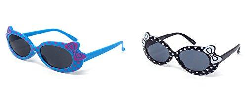 1 x Blue 1 x Black Coloured Childrens Kids Girls Stylish Cute Designer Style Sunglasses with a Bow and heart Style UV400 Sunglasses Shades UVA UVB - Eyelevel Sunglasses Uk