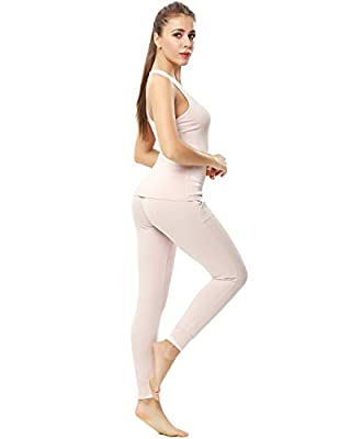 ENIDMIL Womens Soft Cotton Lounge Sleepwear Pajama Set 2 Piece Tank Top and Pajama Yoga Pants Sportswear Set